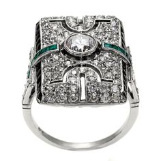 Platinum Emerald and 1 4/5ct TDW Diamond Antique Cocktail Ring (H-I, SI1-SI2) | Overstock.com Shopping - Top Rated Estate and Vintage Rings
