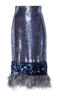Aquaviva Feather Hem Sequin Skirt by Johanna Ortiz Sequin Pencil Skirt, Blue Pencil Skirts, Blue Skirts, Feather Skirt, Blue Feather, Black And Blue Dress, English Style, Sequins, Polyvore