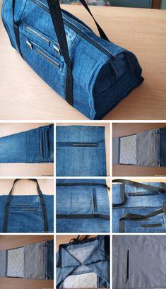 Сумка из джинсов: разные модели с фото мастер-классами Recycled Denim, Diy Recycle, Sewing, Crochet, Bags, Handmade Bags, Craft, Kids Backpacks, How To Make