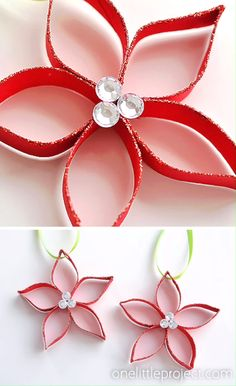These paper roll poinsettias are SO FUN and they're really simple to make! Who knew you could transform a simple paper roll into something so beautiful! Christmas Ornament Crafts, Christmas Diy, Christmas Crafts, Christmas Decorations, Origami Xmas Ornaments, Paper Ornaments, Toilet Paper Roll Crafts, Paper Crafts For Kids, Paper Roll Art