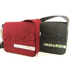 Originelle Handtasche aus Filz Melly, anthrazit oder dunkelrot - MiaDeRoca Filztaschen Felt Bags, Industrial, Scrappy Quilts, Dark Red, Bags Sewing, Other, Felting, Handbags, Projects
