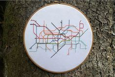 London Tube System  Embroidery Hoop Art by lonelymtnembroidery, $65.00