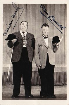 Laurel and Hardy signed picture filmFd Laurel And Hardy, Stan Laurel Oliver Hardy, Great Comedies, Classic Comedies, Classic Films, Hollywood Stars, Classic Hollywood, Old Hollywood, Old Movies