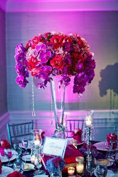 fuchsia and purple flower centerpiece wedding ideas and inspiration     Embrace Life Photography via CeremonyBlog.com (14)