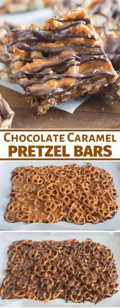 These simple Salted Chocolate Caramel Pretzel Bars will quickly become your new favorite sweet and salty t. These simple Salted Chocolate Caramel Pretzel Bars will quickly become your new favorite sweet and salty treat! Mini Desserts, Delicious Desserts, Yummy Food, Tasty, Elegant Desserts, Potluck Desserts, Desserts For A Crowd, Beste Desserts, Classic Desserts