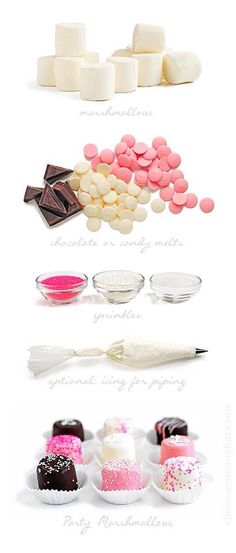 I don't usually like marshmallows, but these look so pretty! ::: Easy Party Marshmallows from Lyons Johnson / She Wears Many Hats Candy Table, Candy Buffet, Dessert Table, Pink Parties, Birthday Parties, Cake Birthday, Tea Parties, Girl Birthday, Chocolate Dipped Marshmallows