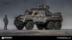 Titanfall 2 Samson Truck by Danny Gardner on ArtStation. Futuristic Cars, Futuristic Design, Army Vehicles, Armored Vehicles, 6x6 Truck, Offroader, Future Weapons, Military Gear, Custom Trucks