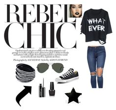 """""""Black is my happy color."""" by lejlaaa1996 ❤ liked on Polyvore featuring Converse, Ray-Ban, MAC Cosmetics, OPI, black, converse, stylish and blackfriday"""