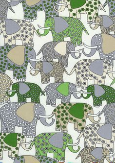 Elephants in Green Fabric by Timeless Treasures