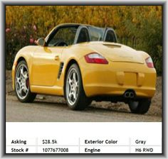 2006 Porsche Boxster S Convertible  Door Reinforcement: Side-Impact Door Beam, Tires: Prefix: P, Front Hip Room: 53.4, Fuel Consumption: Highway: 27 Mpg, Side Airbag, Convertible Occupant Rollover Protection, Front Ventilated Disc Brakes, Auxilliary Engine Cooler, Heated Windshield Washer Jets, Wheelbase: 95.1, Cruise Control, Overall Width: 70.9, Window Grid Antenna, Tires: Width: 265 Mm, Silver Aluminum Rims, Front Head Room: 38.1, Overall Height: 51.0