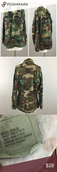 "Army Camo Oversized Jacket Army Camo Oversized Jacket. Size Medium (men's) Large (women's). Thank you for looking at my listing. Please feel free to comment with any questions (no trades/modeling).  •Bust: 46""  •Length: 26""  •Condition:  EUC, no holes or stains.   25% off all Bundles or 3+ items! Reasonable offers welcome. army Jackets & Coats"