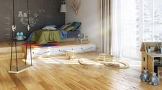 open-plan boys room with blonde wood flooring. Blonde wood floors open up a space so much and create a timeless look.