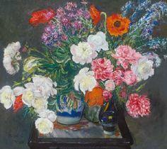 Still life with flowers, 1918 by Istvan Csok Famous Flower Paintings, Carnations, Flower Art, Still Life, Art Nouveau, Artists, Gallery, Art, Flowers