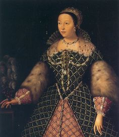 1556 Catherine de Medici possibly by Agnolo Bronzino(?)   bodice    This image shows the head and bodice of Catherine de Medici wearing one of the costliest dresses ever depicted. Even the ruff is jeweled!