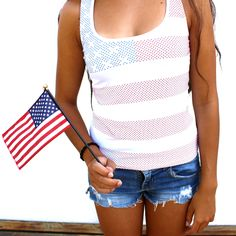 STUDDED AMERICAN FLAG   T-SHIRT BY FASHIONSTRASS