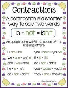 Free downloadable contractions poster and activities for teaching contractions
