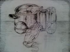 charcohl still life - Sketching by Haider Ishaq in my art work at touchtalent 19888