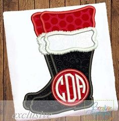 Santa Boot Monogram Applique - 4 Sizes! | What's New | Machine Embroidery Designs | SWAKembroidery.com Creative Appliques