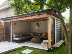 Outdoor backyard - incredible backyard storage shed design and decor ideas page 32 Backyard Storage Sheds, Backyard Sheds, Backyard Patio Designs, Shed Storage, Pergola Patio, Patio Ideas, Diy Patio, Bike Storage, Pergola Kits