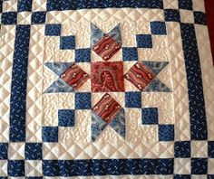 Hello Everyone, Just a teaser today.Lesley The Cuddle Quilter& Country Charmer quilt is finished and off my HandiQuilter.sashing and star ideas Blue Quilts, Star Quilts, Scrappy Quilts, Mini Quilts, Machine Quilting Designs, Quilting Projects, Quilting Ideas, Quilt Block Patterns, Quilt Blocks
