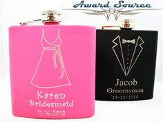 Set of 2 Stainless Steel Hip Flask for Bridesmaids and Groomsmen -FREE Engraving - 1 Pink and 1 Matte Black included in the set Wedding Gown Ballgown, Ethereal Wedding Dress, Rustic Wedding Gowns, Wedding Gowns With Sleeves, Couture Wedding Gowns, Stunning Wedding Dresses, Classic Wedding Dress, Country Wedding Dresses, Lace Wedding
