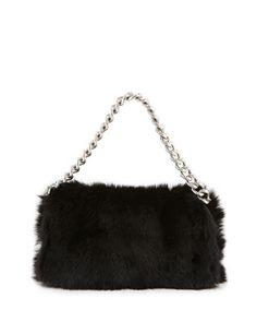 Folded Fur Clutch Bag, Black by Alexander McQueen at Neiman Marcus.