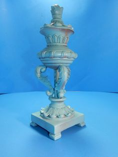 Finial Decorative Table Top Shelf Sitter Blue Shabby Cottage Chic Decor #Unknown #Cottage