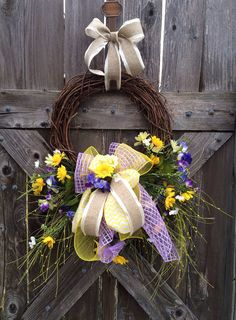 Spring Wreath, Easter Wreath, Grapevine Wreath, Divinely Lavender & Yellow on Etsy, $58.00