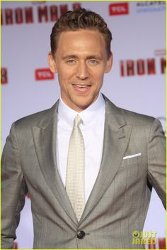Tom Hiddleston attends the premiere of Iron Man 3 on April 24, 2013, at the El Capitan Theatre in Hollywood.