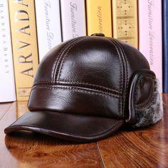 High-quality Men Cowhide Genuine Leather Baseball Cap Earflaps Earmuff  Bomber Velvet Linen Hat - a15282f2bfca