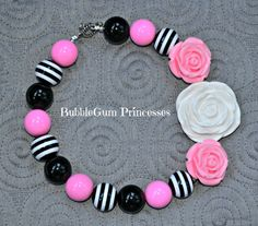 Chunky BubbleGum bead necklace stripe girl toddler baby Jewelry Roses Adorable on Etsy, $18.00