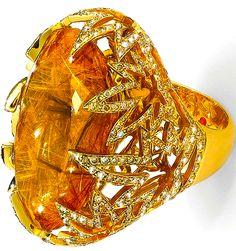 Roberto Coin rutilated quartz and diamond ring