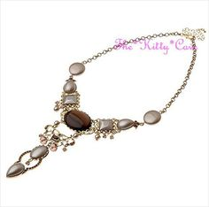 Vintage Gold Glamour Deco Amber Beige Choker Bib Necklace w/ Swarovski Crystals