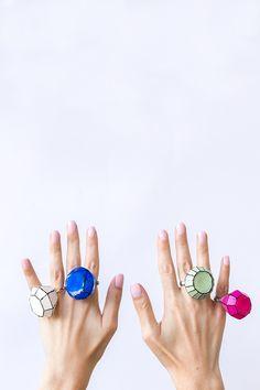 DIY Giant Gem Rings - Use a gem shaped ice mold, hot glue gun & nail polish!