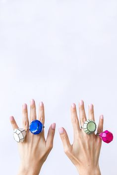 DIY Giant Gem Rings - Use a gem shaped ice mold, hot glue gun & nail polish!
