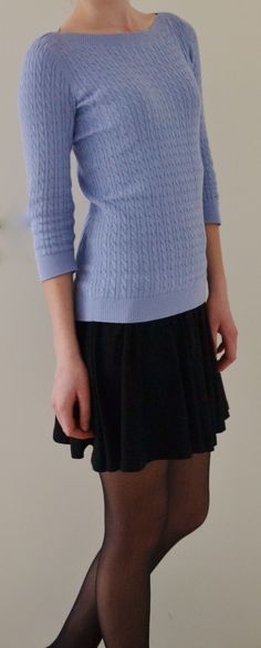 azure sweater, skirt, color, springlike outfit