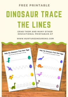 Want to help your kids get better at writing? Then grab these free, dinosaur trace the line printables and let them practice their prewriting skills Alphabet Worksheets, Preschool Worksheets, Kindergarten Activities, Free Worksheets, Stem Activities, Dinosaur Worksheets, Pre-k Resources, Writing Resources, Dinosaurs Preschool