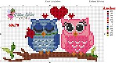 Cross Stitch Owl, Simple Cross Stitch, Cross Stitch Animals, Cross Stitch Charts, Cross Stitch Embroidery, Cross Stitch Patterns, Owl Quilts, Loom Patterns, Decoupage
