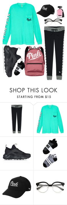 """""""PINK School Outfit"""" by maddie458 ❤ liked on Polyvore featuring Victoria's Secret and NIKE"""