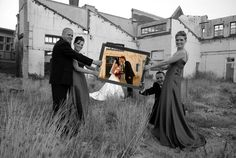 With Best Man and Maid of Honor? Or Siblings? Would be SUPER cute! Love the Black and White and Color. wedding-ideas