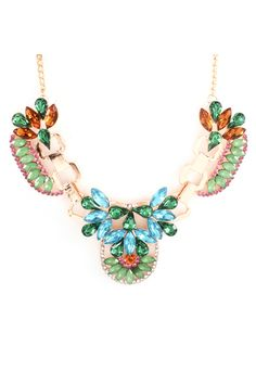 Andrina Statement Necklace. Crystal and Rhinestones brilliantly set against goldplate. Pretty for Spring and Easter.