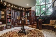 A curved staircase leads to four bedrooms and the dark wood office and library English Manor Houses, English Country Cottages, English House, Future House, My House, Dallas, Fantasy House, Castle House, House Goals