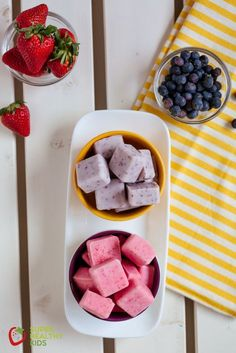 FroYo Bites.  These are creamy, full of fruit and a snack kids love! www.superhealthykids.com