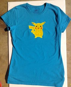 I machine embroidery appliqued Pikachu onto this t-shirt for my teenager daughter. Machine Embroidery Applique, Refashion, Gifts For Family, Pikachu, Daughter, Children, Mens Tops, T Shirt, Young Children