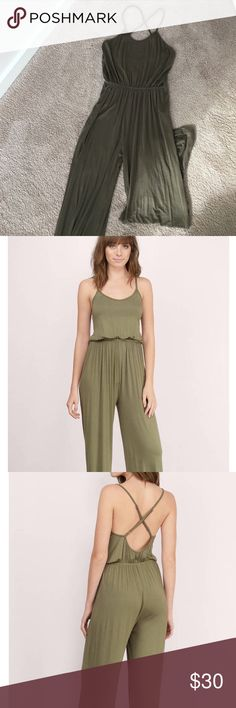 "Strappy Back Jumpsuit Stunning olive Jumpsuit with the strappiest back! 26"" waist and 31"" inseam for size S. Wearable to a nice dinner out with a blazer or even for a night out on the town! I'm including the gold bracelet FOR FREE. Worn minimally. Tobi Dresses"