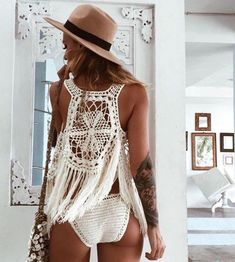 Excited to share this item from my shop: Crochet Fringed Vest, Handmade , … - Bademode Crochet One Piece, Knit Crochet, Crochet Vests, Crochet Clothes, Diy Clothes, Look Boho Chic, Boho Style, Bikini Crochet, Mode Hippie