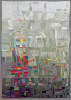 ART QUILT    Lovely foggy background with a delightful spring of color.