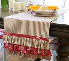 Kathys Cottage: Ticking & Toile Tablerunner--love the ticking stripe and ruffles