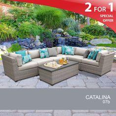 Catalina 7 Piece Outdoor Furniture Set | Grey Rattan Furniture