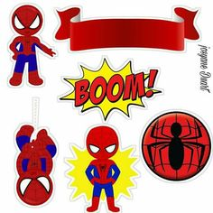 Superheroes Birthday Party: Free Printable Wrappers and Toppers for Cupcakes. - Oh My Fiesta! for Geeks Spiderman Chibi, Baby Spiderman, Spider Man Party, Party Printables, Free Printables, Cake Templates, Party In A Box, Superhero Party, Fall Crafts